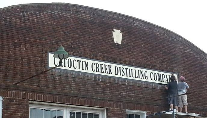 Erecting the Catoctin Creek sign