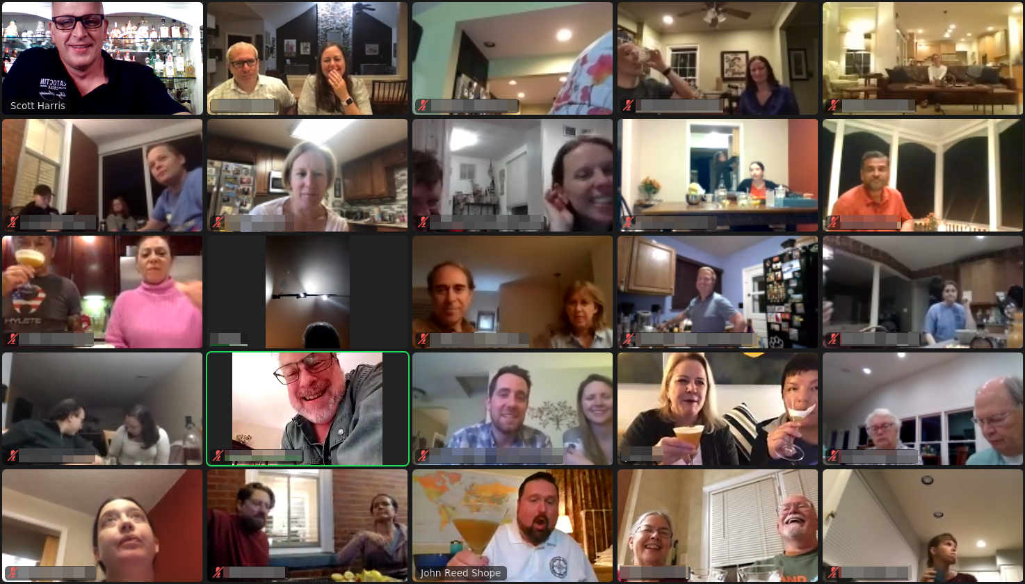 Zoom image of 30 people having fun in the cocktail class